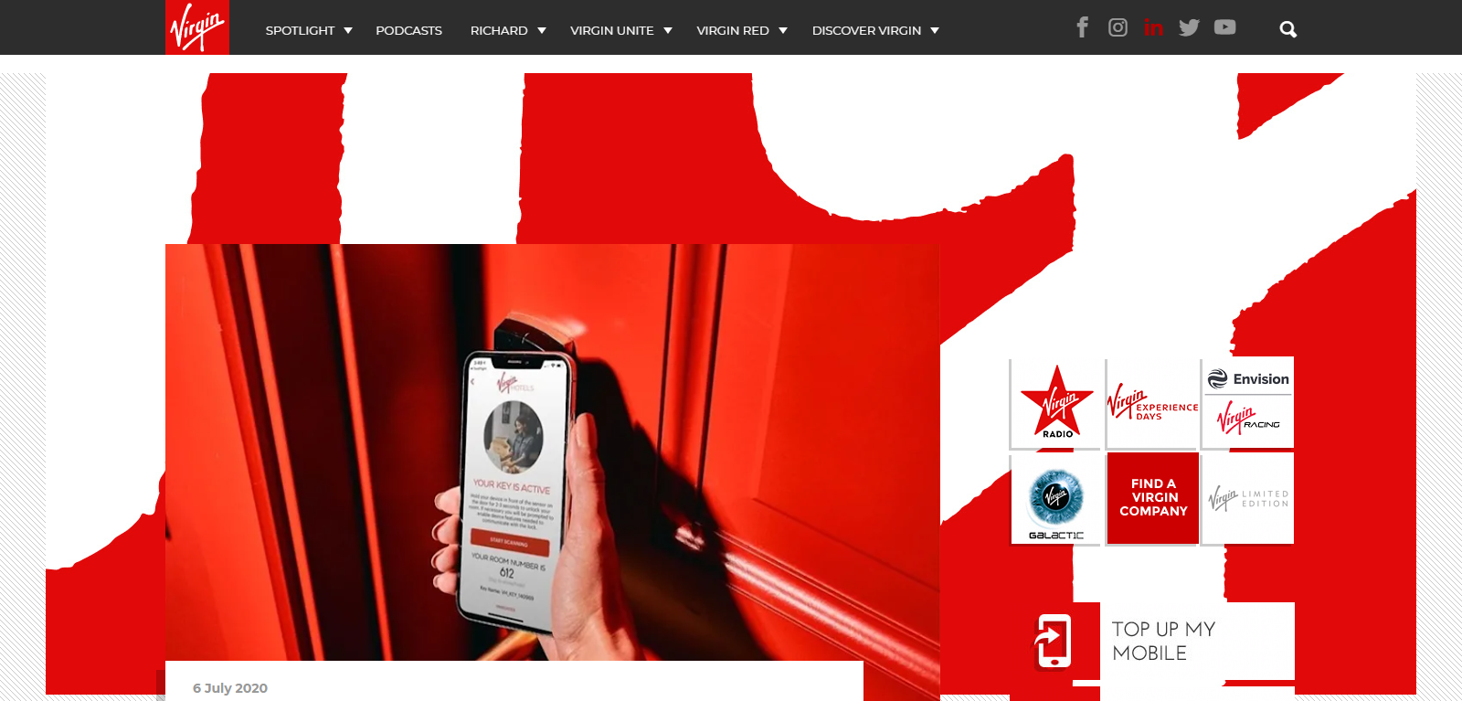 Virgin America website design